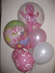"Baby Girl Bouquet - Bubbles & 11"" Latex"