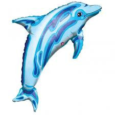 "Dolphin blue SuperShape - 37"" Foil Balloon"