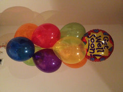 Get Well Foil & 9 Latex Balloons Bouquet