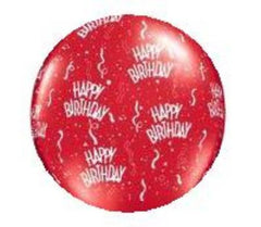 3 Foot Printed Happy Birthday Balloons Ruby Red