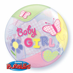 Baby Girl Flowers & Hearts Bubble 22""