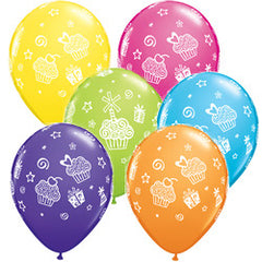 "11"" Latex Balloons - Cupcakes & Presents"