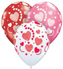 "Etched Hearts-A-Round - 11"" Latex"