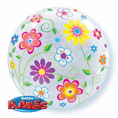 "Bright Flowers - 22"" Bubble Balloon"