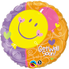 "Get Well Soon! Smile Face - 18"" Foils"