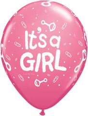 "11"" Latex Balloons - It's A Girl Rattle"
