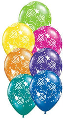 "11"" Latex Balloons - Swirling Stars-A-Round"