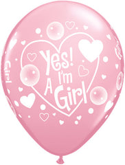 "11"" Latex Balloons - Yes! I'm A Girl"