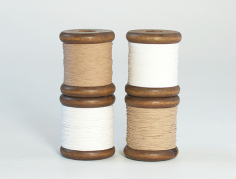 Finest Paper Yarn on a Wooden Bobbin: White and Natural