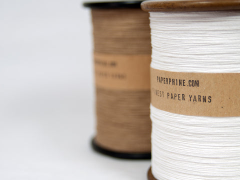 Finest Paper Yarn on a Vintage Silk Bobbin: White and Natural-Kraft