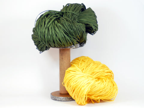 PaperPhine: Paper Raffia in Dark Green and Yellow