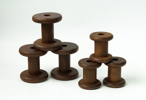 New Stained Wooden Bobbins: Set of 6