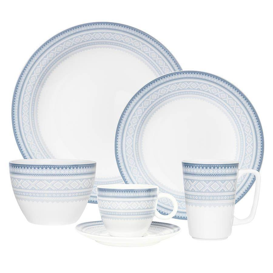 Flat dinner plate (11in) in BLUE Marius pattern, 4-pack - MARIUS