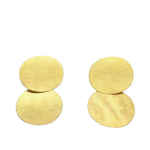 Double Gold Textured Oval Earrings