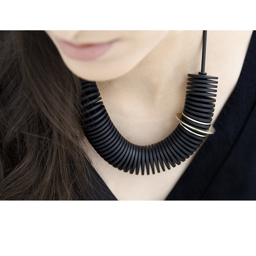Black Gold Scroll Necklace