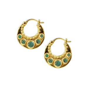 Emerald Crescent Hoops