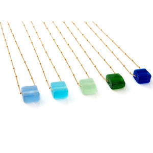 Recycled Bottle Glass Cube Necklace w/ Seaglass