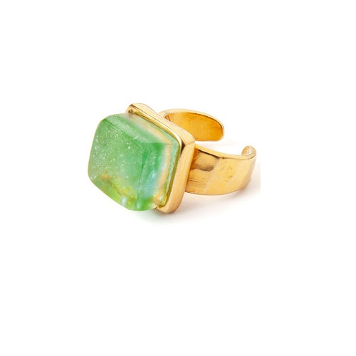 Recycled Glass Mosaic Adjustable Ring in Gold