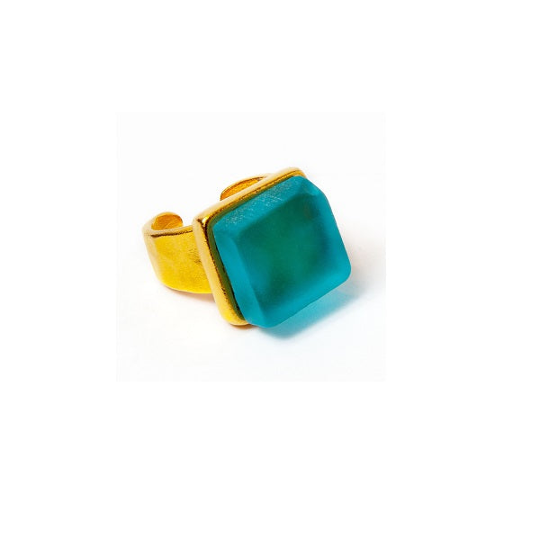Recycled Bottle Glass Adjustable Cocktail Ring Gold