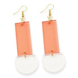 Rectangle Half-Round Lucite Earring