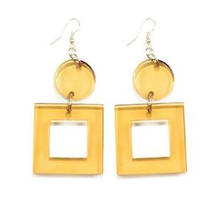 Amber Square Dangle Earrings