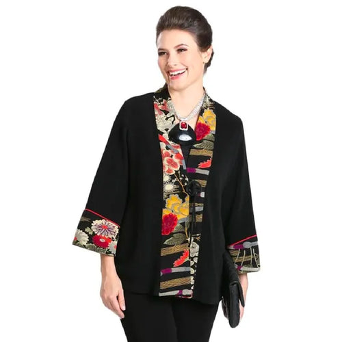 Asian Print Jacket Black