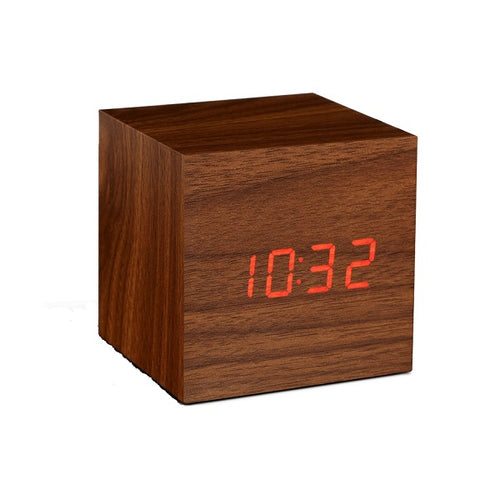 Click Clock Cube Walnut