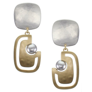 Cutout Pearl Clip-on Earrings