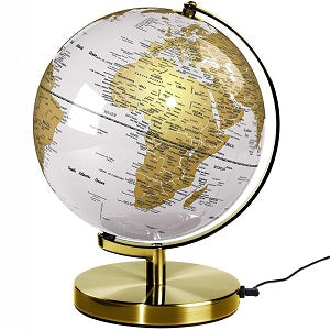 Globe Light Metallic Brass & White 10""