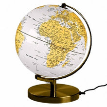 Load image into Gallery viewer, Globe Light Metallic Brass & White 10""
