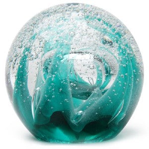 Ice Cave Teal Glow Paperweight