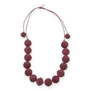 Magenta Leather Bead Necklace