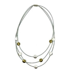 Tiered Wire & Disc Necklace