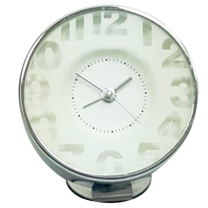 Edge Bedside Alarm Clock Transparent White
