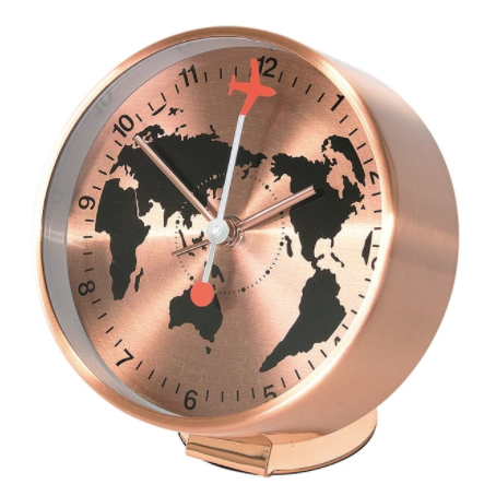Edge Bedside Alarm Clock Globe Copper