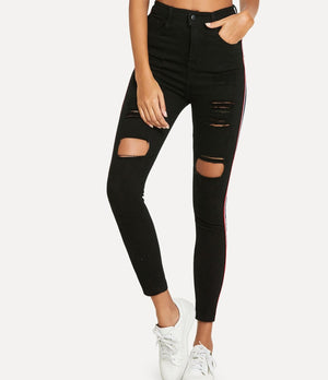 SHEIN Striped Side Ripped Denim