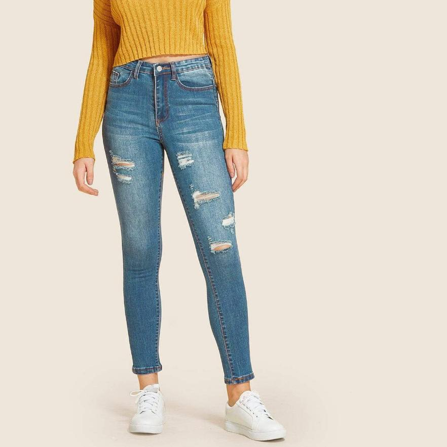 SHEIN Faded Ripped Jeans