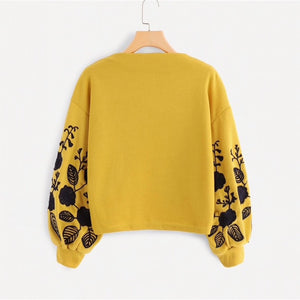 Ginger Shein Floral Cowl Neck Sweater