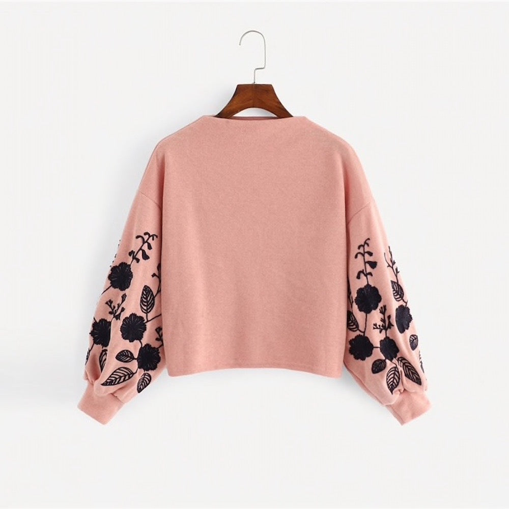 Pink Shein Floral Cowl Neck Sweater