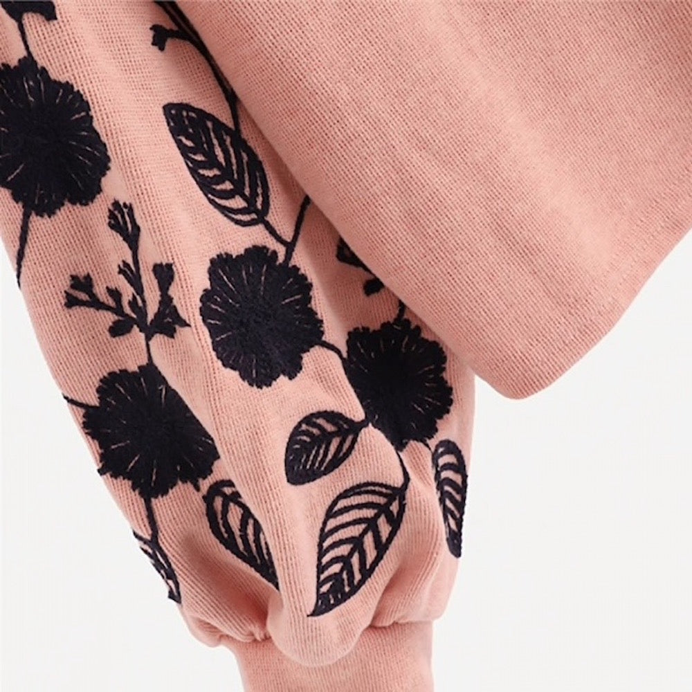 Close Up Sleeve View of the Pink Shein Floral Cowl Neck Sweater