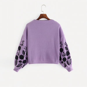Purple Shein Floral Cowl Neck Sweater