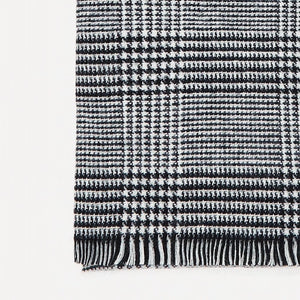 Close Up View of the Grey Shein Frayed Plaid Scarf