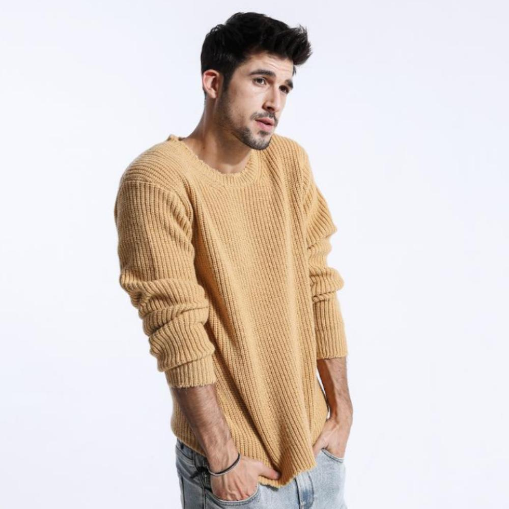 Model Featuring Front View of Yellow Casual Knitted Pullover