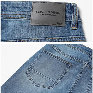 Close Up Seam, Waist and Pocket View of Nostalgic Blue SIMWOOD Classic Straight Leg Jeans