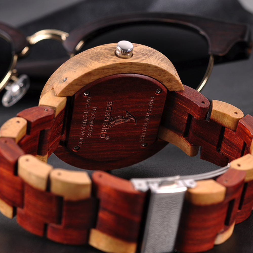 Close Up Case Back View of Red BOBO Bird Dual Time Zone Wooden Watch