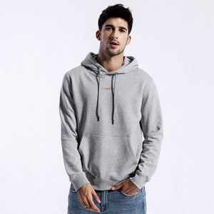 Model Featuring Front View of Floral Grey SIMWOOD Embroidered Pullover Hoodie