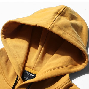 Close Up Hood View of Yellow SIMWOOD Embroidered Pullover Hoodie