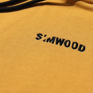 Close Up Embroidery View of Yellow SIMWOOD Embroidered Pullover Hoodie