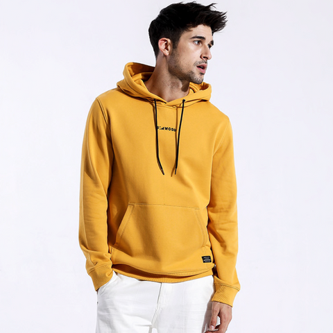 Model Featuring Front View of Yellow SIMWOOD Embroidered Pullover Hoodie