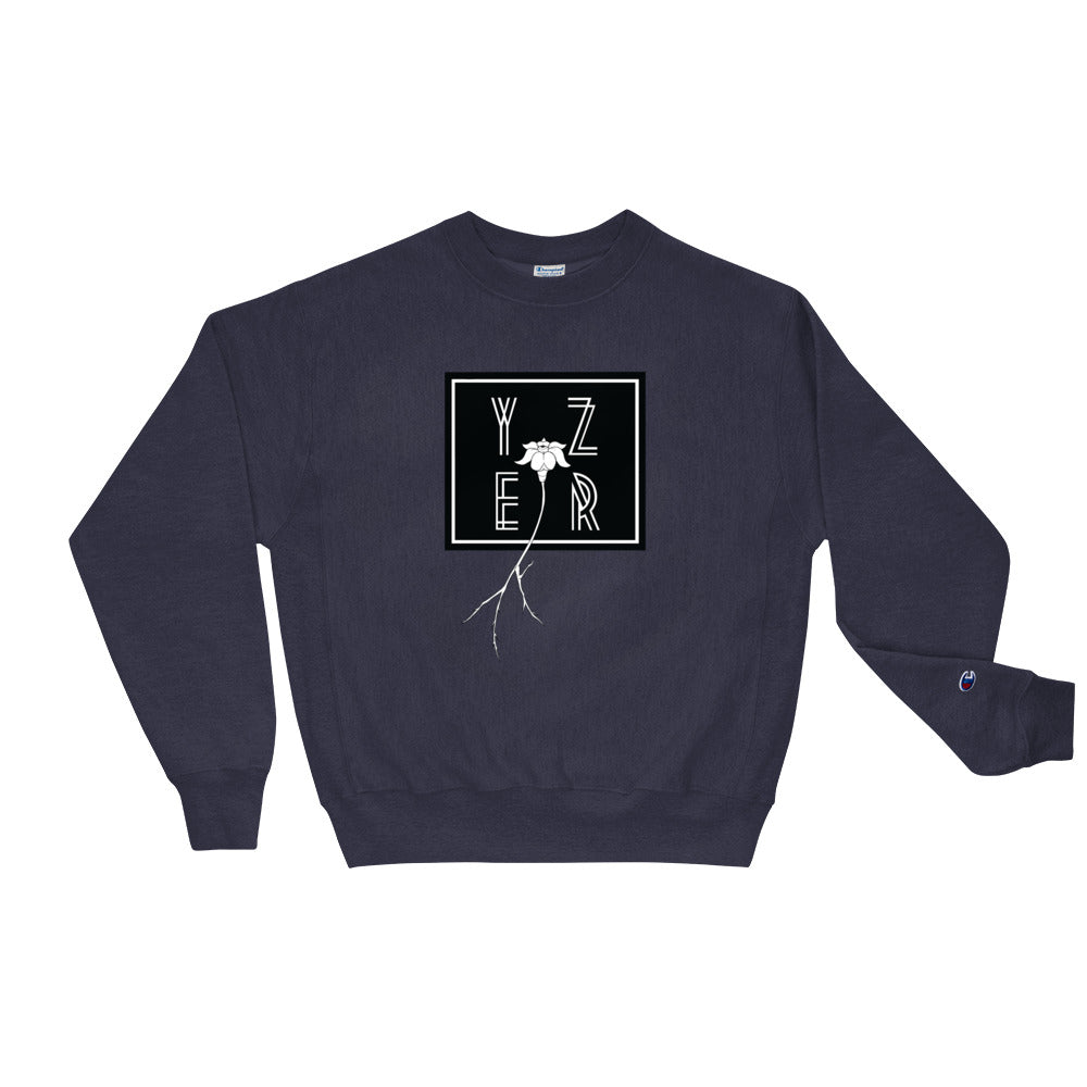 Front View of the Team Navy Square Off Floral Perspective Sweatshirt
